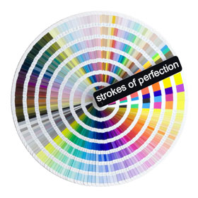 strokes of perfection colour wheel with paint colour cards