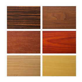 various wood grains and stains