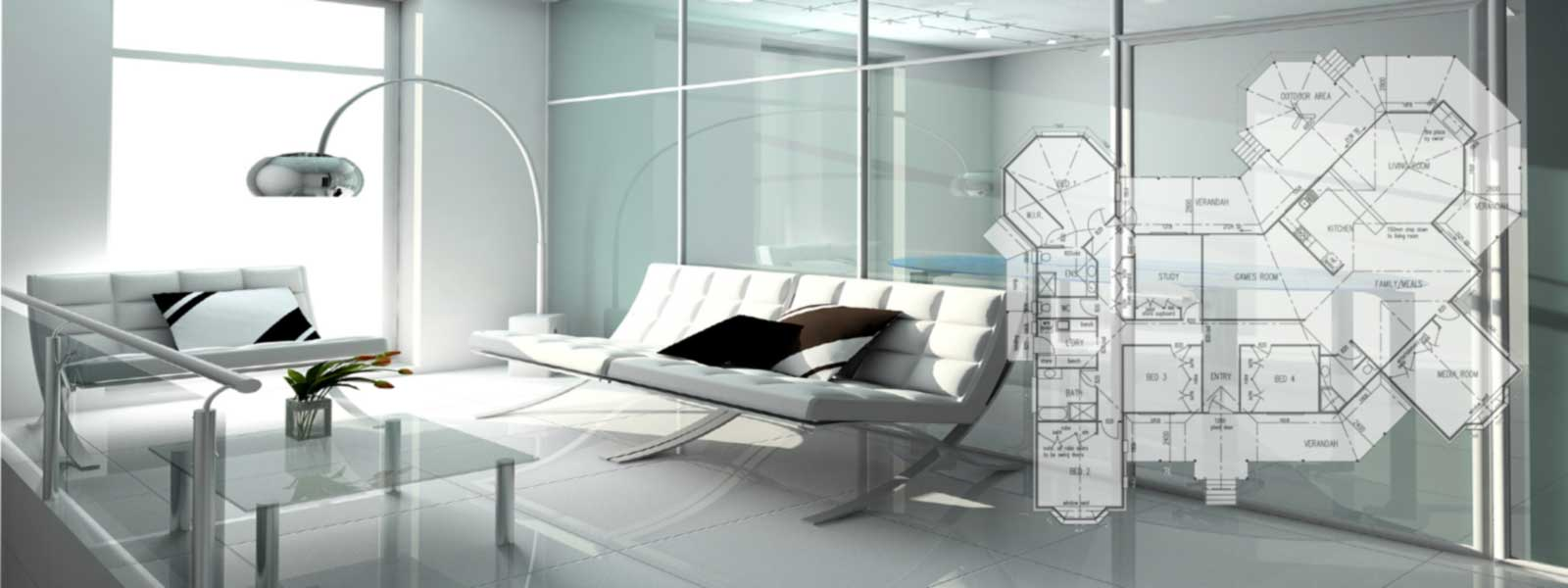 background office building with floorplan
